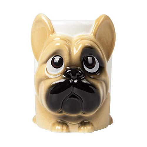 el & groove 3D Französische Bulldogge Tasse groß in braun, Tee-Tasse 350 m aus Porzellan, Kaffee-Tasse, Hunde-Tasse, Dog Mug, French Bulldog, Hunde Deko Becher, Geschenk Weihnacht, Geschenk Hund Mann