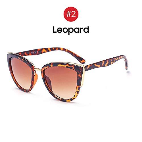 LAOGEFJ Sonnenbrille Damen Retro Große Cat Eye Sonnenbrille Gradient Sonnenbrille Sonnenbrille Mode Elegante Damen Sonnenbrille Leopardenmuster