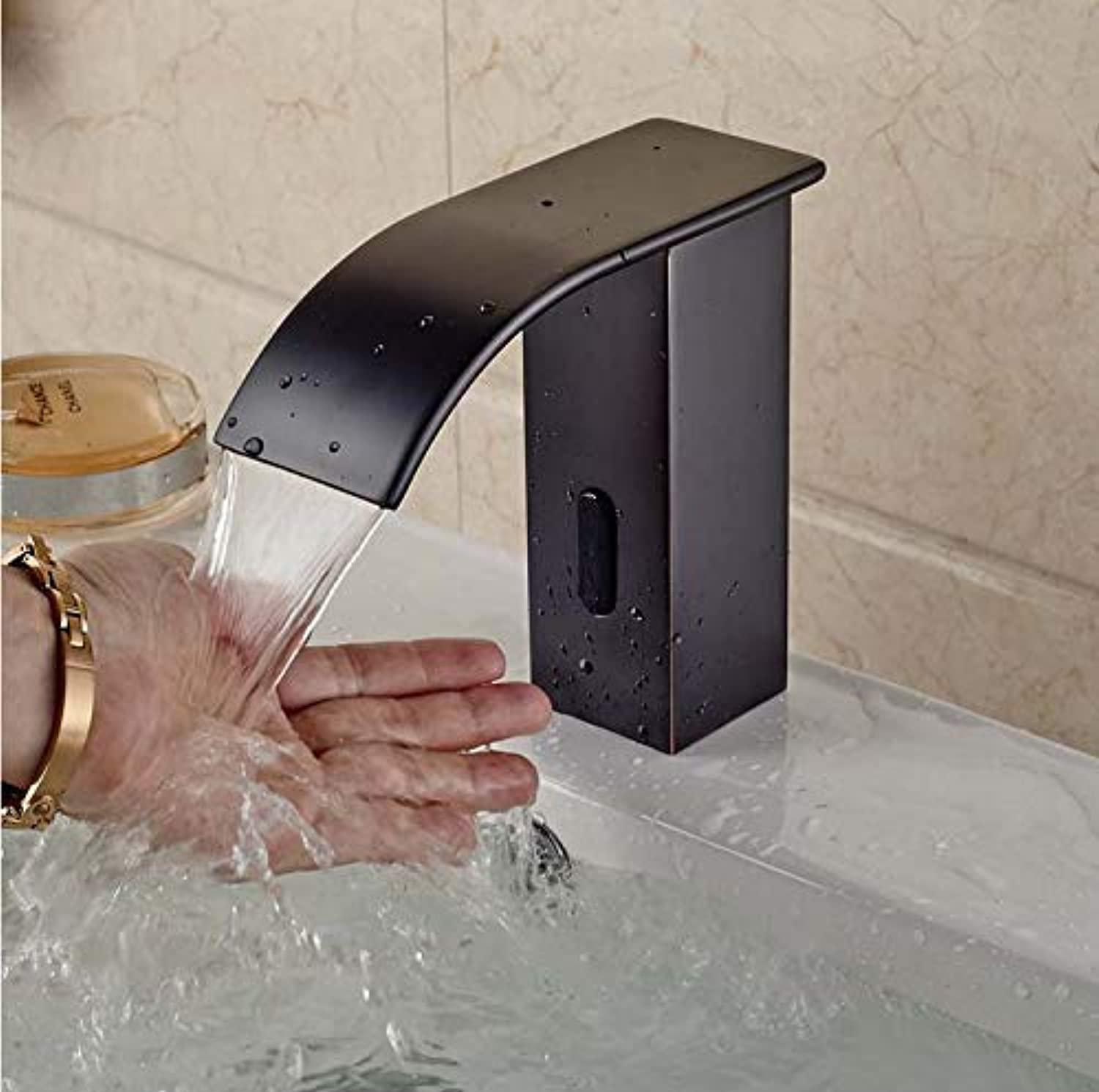 Faucet Taps Oil Rubbed Bronze Brass Bathroom Waterfall Basin Faucet Sensor Induction Sink Water Tap Hands Free