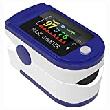 Professional Pulse Oximeter fingertip with 2 Duracell, Digital oxymeter -Blood Oxygen Saturation Heart Monitor Meter, Medical Device SpO2 Dual Color Highest Accuracy