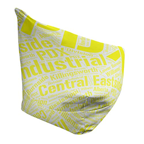 Amazing Deal ArtVerse Rand Cites Portland, Oregon Districts Word Art-Yellow Bean Bag Cover w/Inner Shell (No Fill)