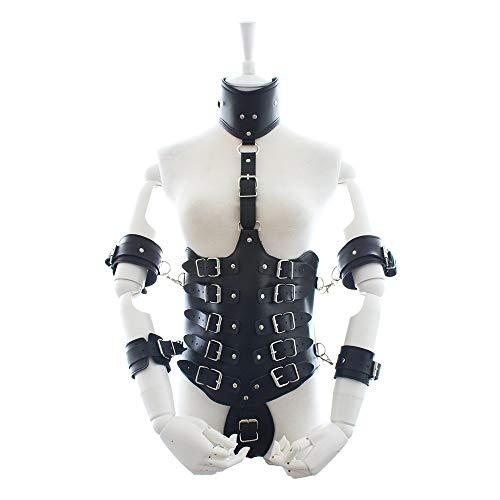 HaiNing Zheng Adulto masculino femenino vinculante ropa de cuero brazo conjunto conjunto suministros diversión reina electrodomésticos (Color : Black, Size : Una talla)