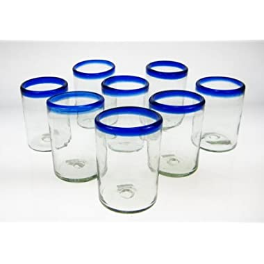 Mexican Glass Blue Rim Tumblers, Set of 8, 16 Oz