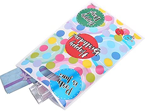 VEYLIN 50Pack Plastic Party Goodies Bags 5 Colors Assorted Color Thick Birthday Gift Goody Treat Bags with Shiny Dot for Wedding Birthday Halloween Party