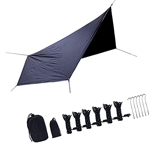 sharprepublic 360 x 280 cm Camping-Hängematten-Plane, wasserdichtes, winddichtes, leichtes, langlebiges Regenfliegenschutz. Perfekte Zeltplane für Rucksackreisen, Schwarz