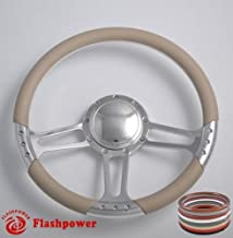 Flashpower 14'' Billet Half Wrap 9 Bolts Steering Wheel with 2'' Dish and Horn Button(Tan)