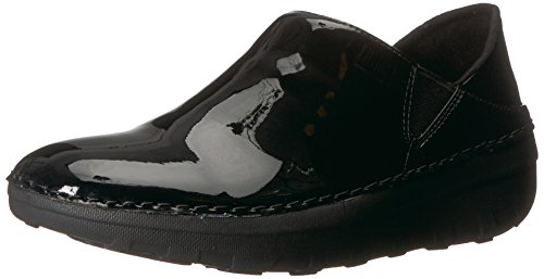 FitFlop Women's SUPERLOAFER Medical Professional Shoe, Black Patent, 6.5 M US