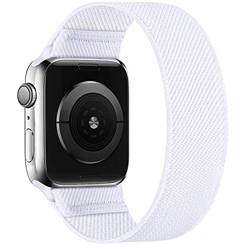 ENJINER Stretchy Nylon Solo Loop Bands Compatible with Apple Watch 38mm 40mm 42mm 44mm iWatch Series 6 SE 5 4 3 2 1 Strap, Sport Elastic Braided No Buckles Clasps Women Men, 38/40mm MWhite