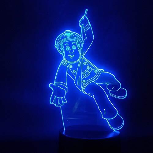 jiushixw 3D acryl nachtlampje met afstandsbediening van kleur veranderende bureaulamp Anime Firefighter Sam Action Chart of verzamelen van lampen en batterijen