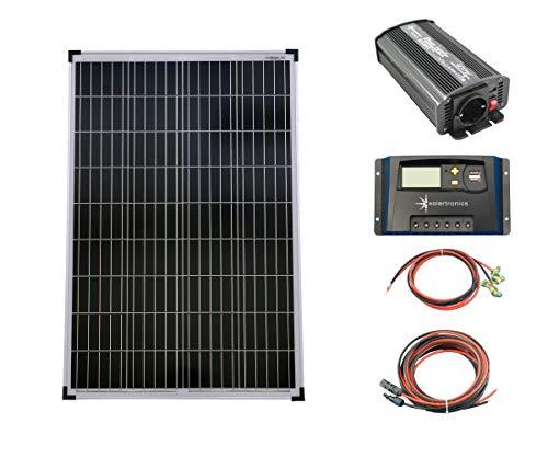 SET 1x 100W Poly Solar Modul 20A Laderegler gelb Spannungswandler 600W modifiziert Kabel Komplettset Solarmodul Photovoltaik Inselanlage