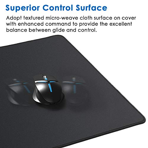 Ktrio Large Gaming Mouse Pad with Stitched Edges, Extended Mousepad with Superior Micro-Weave Cloth, Non-Slip Base, Water Resist Keyboard Pad, Desk Mat for Gamer, Office & Home, 31.5 x 15.7 in, Black Photo #2
