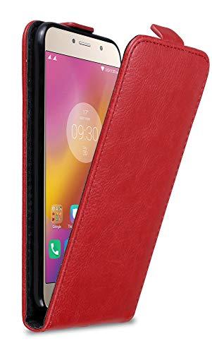 Cadorabo Hülle für Lenovo P2 in Apfel ROT - Handyhülle im Flip Design mit Magnetverschluss - Hülle Cover Schutzhülle Etui Tasche Book Klapp Style
