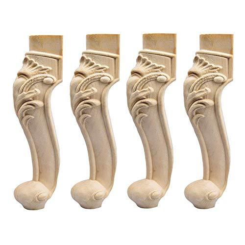 LIDUO 4X Holzfüße Möbelfüße,Europäisch Stil Massivholz Geschnitzten Ersatz Tischbeine Möbelbeine Dekoration für Sofa Bett Schrank Couch Stuhl
