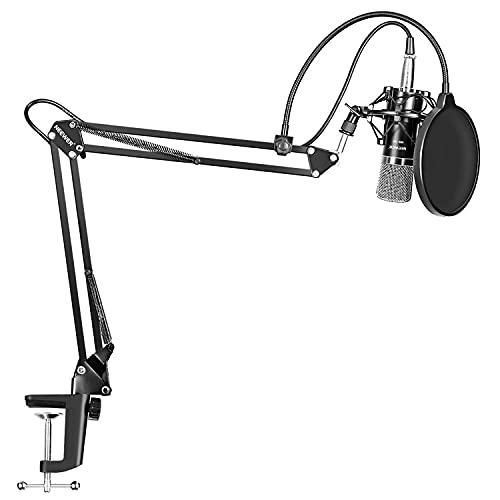 Condensatormicrofoonset, Bm-800 Microfoonset Studio-Uitzending Opnamemicrofoon Met Verstelbare Ophangschaararm, Dubbellaags Popfilter, Antischokmontageklemkit Zangmicrofoons