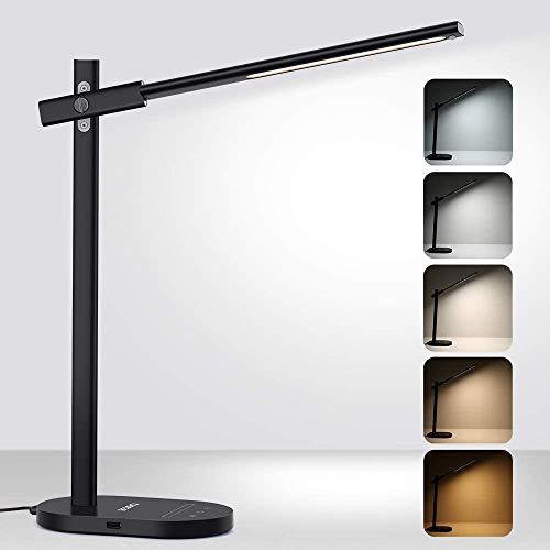 Beschoi Schreibtischlampe LED Büro Tischleuchte 10W aus Metall mit 6 Helligkeits- und 5 Farbstufen Speicherfunktion USB Ladeanschluss Touchfeldbedienung