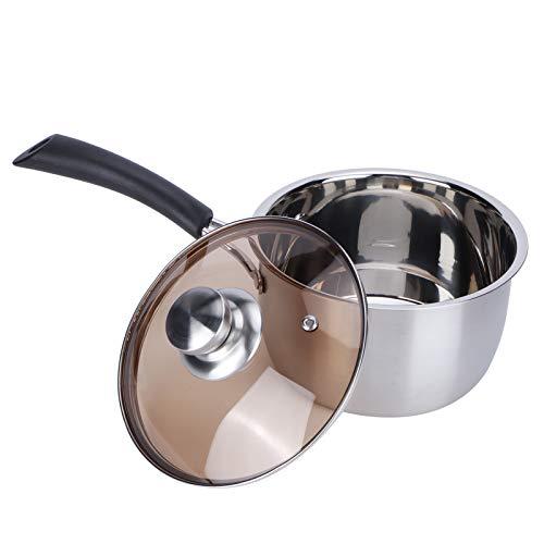 16cm edelstahl kochtopf nichtmagnetische topf antihaft mit griff milchsuppe nudelpfanne gehärtetem glasdeckel deckel küche kochen einhand spülmaschinengeeignet stielkasserolle milchtopf
