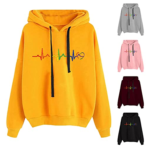 BIKETAFUWY Sudadera con capucha para mujer, estilo informal, con bolsillos, estilo casual, manga larga, talla grande, A-gris, S