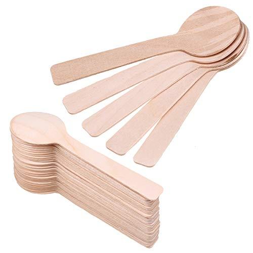 Cucharas de madera,paquete de 200 mini cubiertos de madera desechables para eventos,utensilios biodegradables compostables redondos de 10 cm Cuchara de degustación cubiertos para fiestas,picnic,bodas