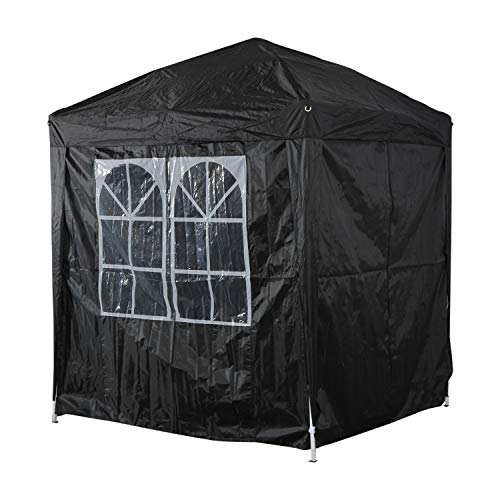 Outsunny 2m x 2m Garden Pop Up Gazebo Marquee Party Tent Wedding Awning Canopy New With free Carrying Case Black + Removable 2 Walls 2 Windows