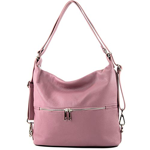 modamoda de - T189 - ital. Damen Rucksack Tasche 2in1 aus Leder, Farbe:Altrosa