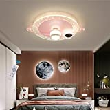 WJLL Lámpara de Techo LED Moderna Regulable con Control Remoto luz Techo para Infantil Iluminación de Techo de Astronauta planetario luz Colgante de acrílico para Dormitorio de niña niño,Rosado