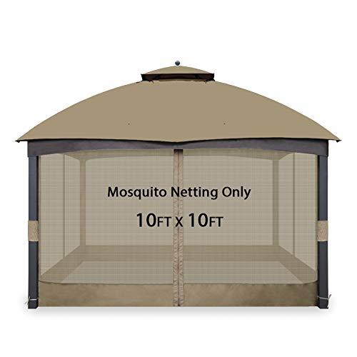 Gafrem Universal Gazebo Replacement Mosquito Netting Adjustable Screen Walls for 10'x10' or 10'x12' Gazebo Canopy (Khaki, 10x10 Feet)