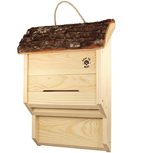 NEST TO NEST Fledermausnistkasten mit Eiche und Rinde Holz I Fledermaushaus I Fledermaushotel zum Aufhängen I Nistkasten für Fledermäuse I Premium Qualität