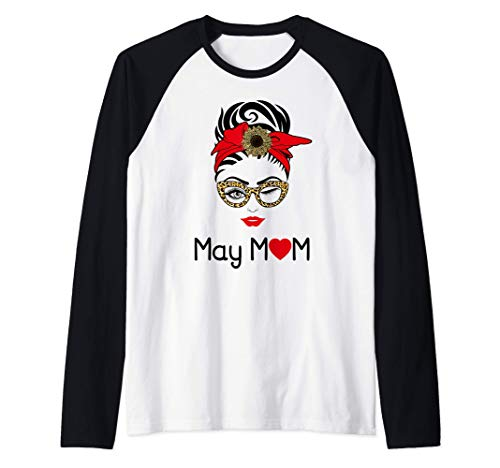 Mama Mayo Shirt Leopard Girasol Corazón Cumpleaños May Mama Camiseta Manga Raglan
