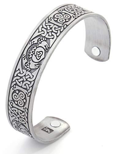 Pulsera con nudo celta Claddagh magnética para terapia de salud brazalete de regalo para mujeres/hombres