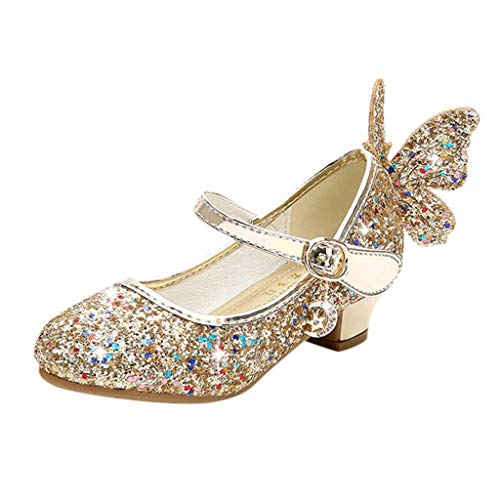 Patifia Baby Kinder Mädchen Pailletten Kristall Bling Schmetterling Prinzessin Schuhe Süß Mode Einzel Sandalen Geschlossene Zehe Tanzschuhe Freizeitschuhe Sommerschuhe Mit niedrigen Absätzen