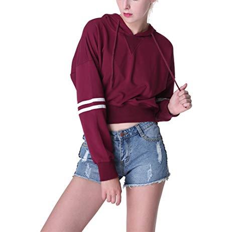 Morbuy Sudadera Corta para Mujer, Hoodie Blusa Camiseta de Manga Raya Larga de Deportivo Moda Basico Sencillo de Otoño Invierno Primavera para (M, Vino Tinto)