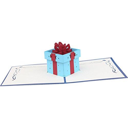 Bodhi2000 Carte de vœux 3D Pop Up Carte postale pour anniversaire de mariage Saint Valentin bleu