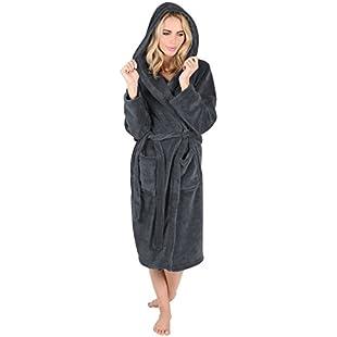 Autumn Faith Ladies Coral Fleece Bath Robe Hood Slate Grey Dressing Gown Housecoat - M