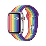 アップル時計バンド カラフルなシリコーン時計バンド ファッションスポーツスタイル Apple watch 5/4/3/2/1適用 38/40mm