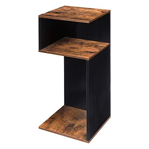 HOOBRO S-förmiger Beistelltisch, 3-etagiger Sofatisch, Telefontisch, Couchtisch mit Ablagefläche, robuste und stabile Plattenkonstruktion, platzsparend und einfach zu montieren, Vintage EBF30BZ01