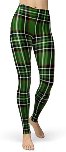 Women's Checkered Plaid Printed Leggings Stretchy Brushed Buttery Soft Tights (Small-Large, Green Check)