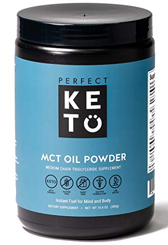Perfect Keto MCT Oil C8 Powder, Coconut Medium Chain Triglycerides for Pure Clean Energy, Ketogenic Non Dairy Coffee Creamer, Bulk Supplement, Helps Boost Ketones, Unflavored from Perfect Keto