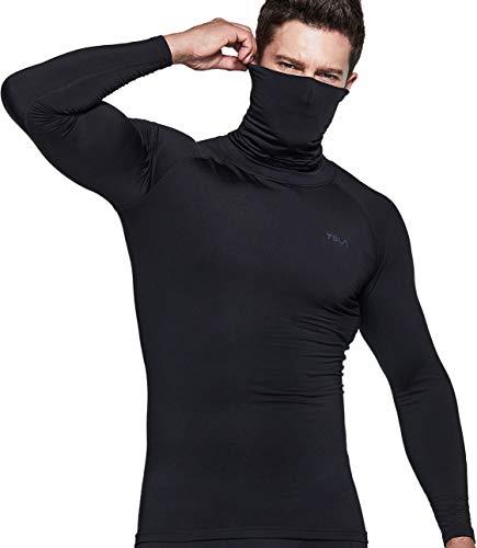 TSLA Men's Thermal Long Sleeve Compression Shirts, Mock/Turtleneck Winter Sports Running Base Layer Top, Heatlock Face Cover Black, Medium