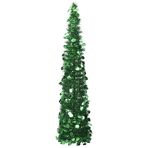 vidaXL Árbol de Navidad Artificial Plegable Decoración Desmontable Vacaciones Ligero Adornos Festivos Artificial Navideño Pet Verde 150 cm