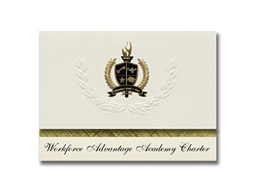 Signature Ankündigungen WorkForce Vorteil Academy Charta (Orlando, Fl) Graduation Ankündigungen, Presidential Elite Pack 25mit Gold & Schwarz Metallic Folie Dichtung