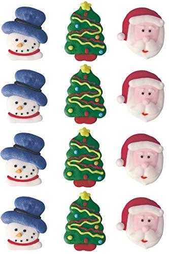 12 decorazioni commestibili per torte natalizie con Babbo Natale e pupazzo di neve