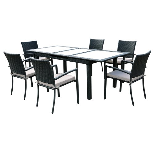 Siena Black Extending Rattan Wicker & Glass Top Garden Table Set With 6 Chairs