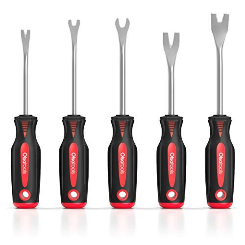 Olsa Tools Automotive Fastener Removers (5pcs) | Plastic Clip Trim Remover | Panel Removal Tool Kit | Ergonomic Soft Grip Handles | Push Pins Rivets Car Door Panel Clips Assortment | Trim Removal Tool