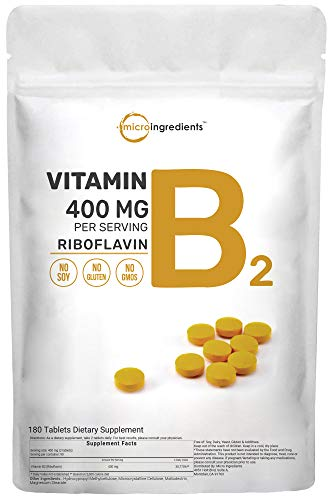 Micro Ingredients Vitamin B2 Riboflavin 400mg Serving, 180 Tablets, Premium Vitamin B2 Supplement, Promote Energy Production, No GMOs