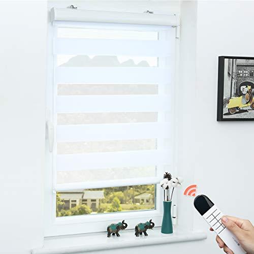 Grandekor Doppelrollo Klemmfix Rollo elektrisch ohne Bohren, 60x150cm (BxH) Weiß, Elektrisches Duo Rollo mit Kassette Sonnenschutz für Fenster und Tür für Wohnzimmer Kinderzimmer