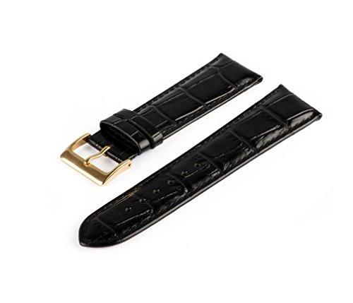 Uhrenarmband Schwarz 14 mm Uhrband Uhrenbänder Uhren Band Gold Schließe Krokoprägung