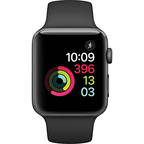 Apple Watch Series 2 Smartwatch 42mm Space Gray Aluminum Case Black Sport Band (Black Sport Band) (Renewed) (Space Gray Aluminum Case With Black Sport Band)