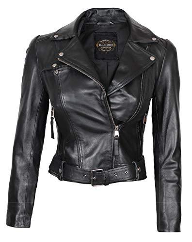 fjackets Womens Black Leather Jacket - Asymmetrical Lambskin Short Leather Jacket Women | [1300911],Angela XS