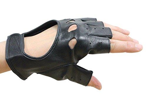 (ムーンクロス)手袋 メンズ(両手付) バイカー ミュージシャン フィンガーレス レザーグローブ 牛革 半指 ドライバーグローブ 指切り (黒) 穴あき 25cm