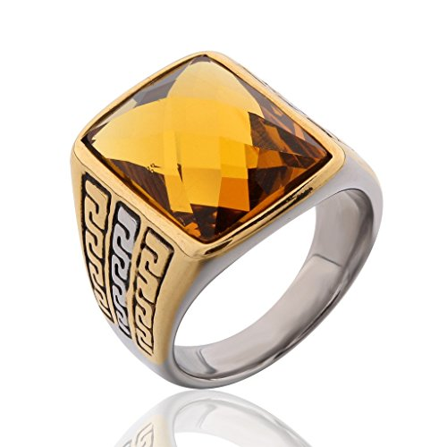 MASOP Stainless Steel Fashion Yellow Topaz Color Rhinestone Crystal Ring for Men and Women